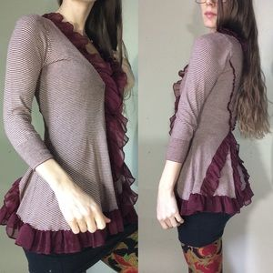 Anthropologie Sweaters - GUINEVERE Maroon Flaring Back Ruffle Cardigan XS